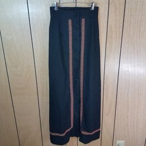 Vintage Wool Embroidered Maxi Skirt, Size 2